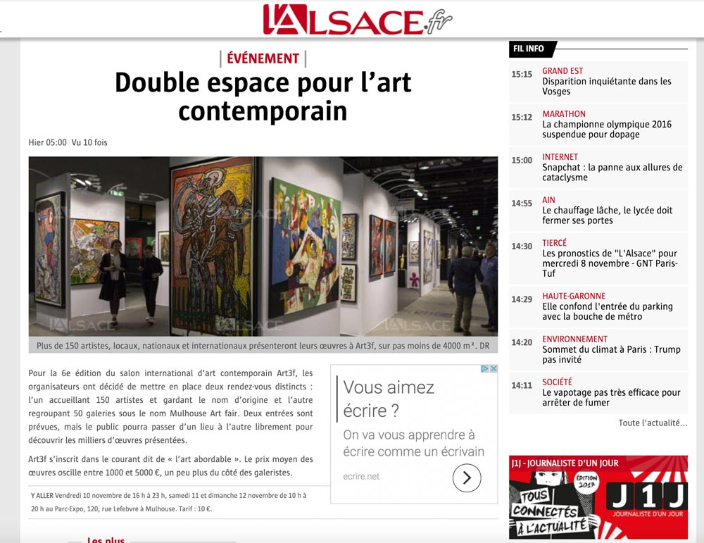 Article l'ALSACE Mulhouse ART FAIR et art3f Mulhouse