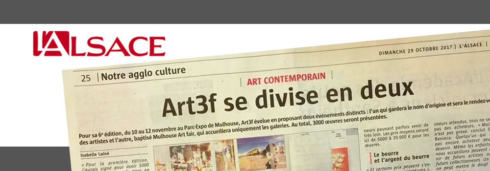 le journal L'ALSACE - art3f et Mulhouse ART FAIR